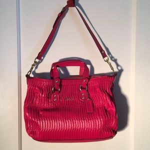 NWOT Coach Madison Red Gathered Leather Satchel